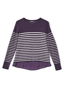 Stripe Jumper With Woven Hem