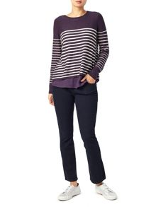 Dash Stripe Jumper With Woven Hem