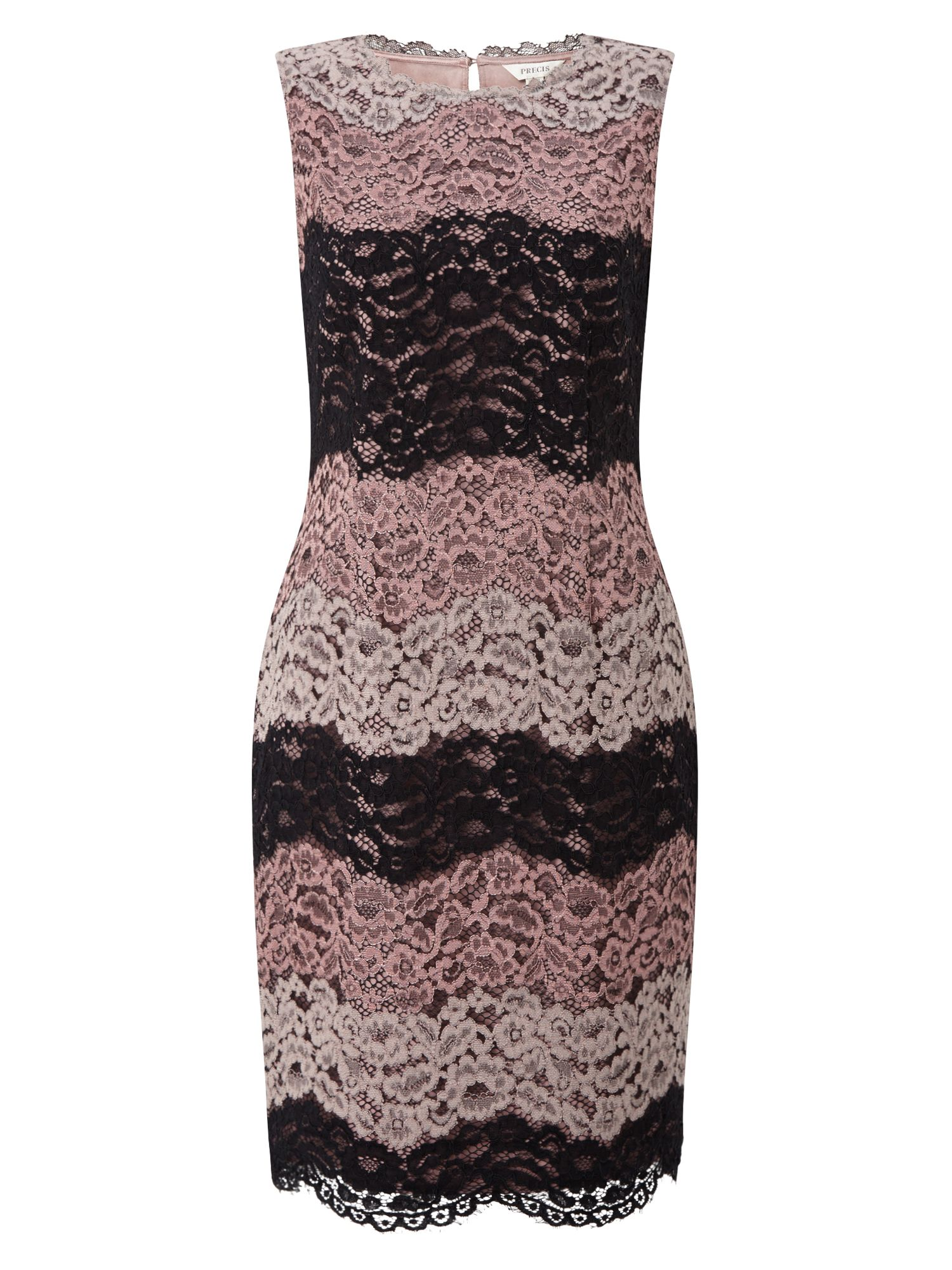 Precis Petite Cady Stripe Lace Dress, Multi-Coloured
