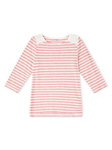 Dash Broidery Yoke Stripe Top