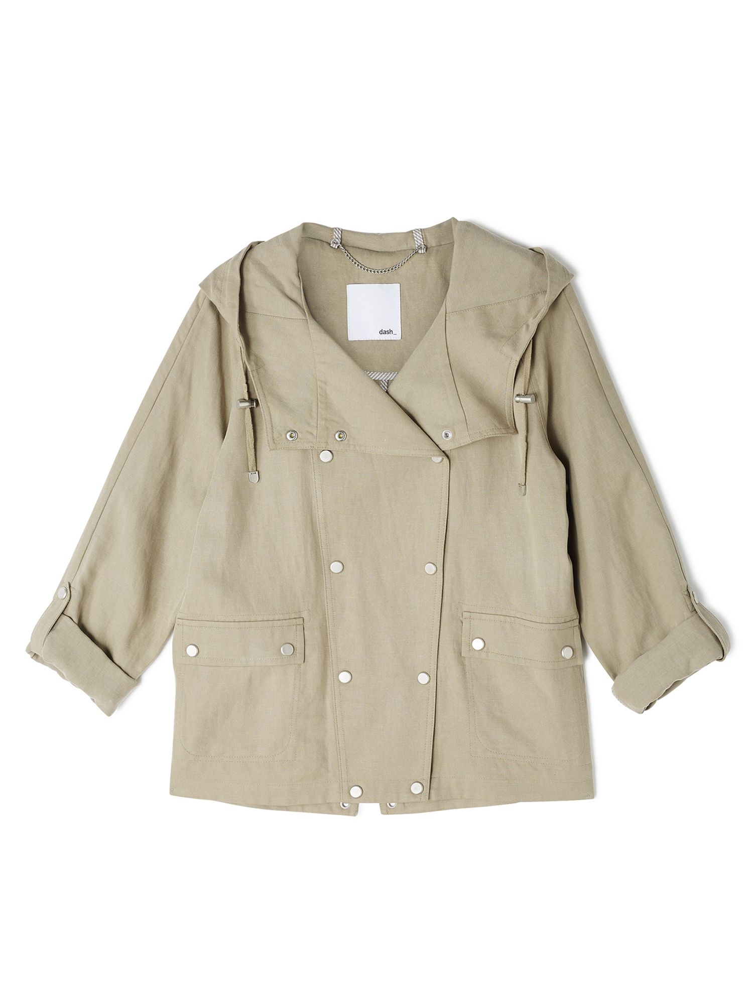 Dash Short Linen Tencel Coat, Neutral
