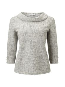 Eastex Cowl Neck Two Tone Top