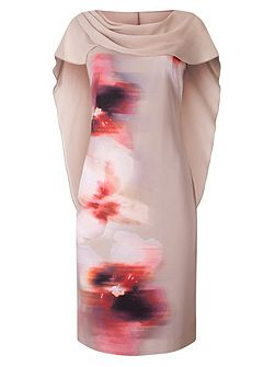Printed Drape Cape Dress
