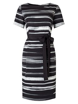 Textured Stripe Tie Wrap Dress