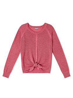 Coral Tie Front Knit Top