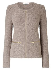 Jacques Vert Zip Front Sparkle Knit Jacket