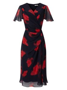 Jacques Vert Poppy Print Soft  Dress