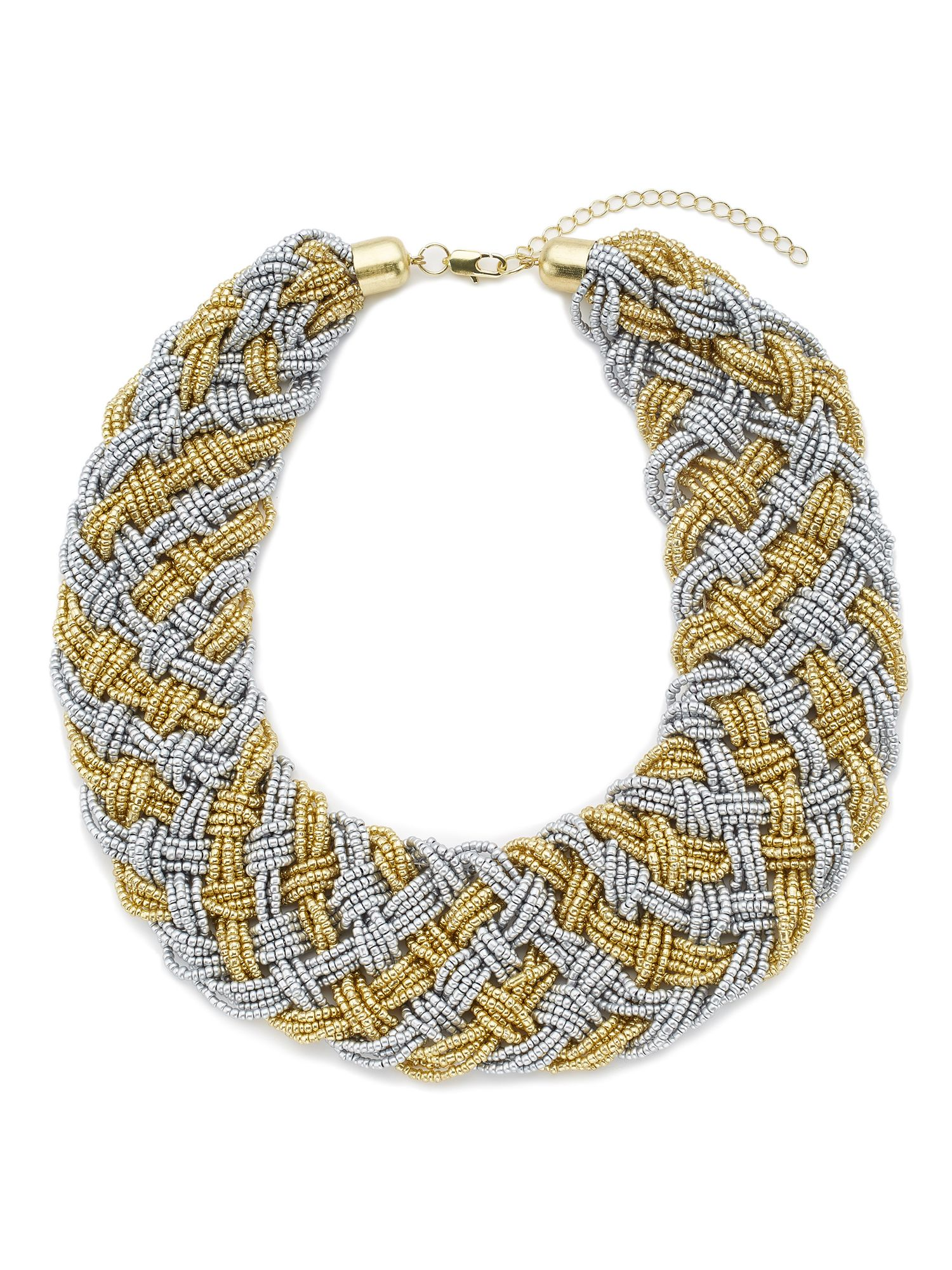 Jacques Vert Beaded Woven Necklace, Multi-Coloured