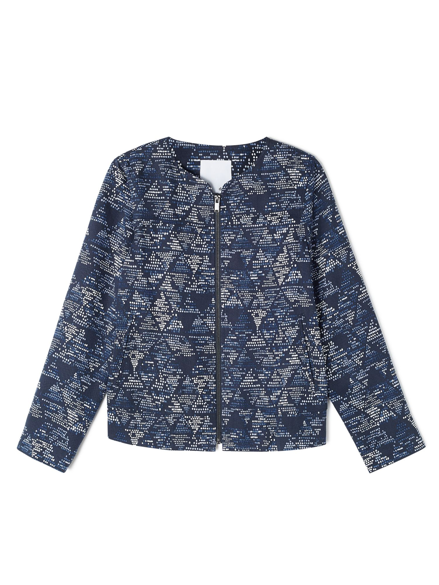 Dash Printed Tencel Bomber Jacket, Blue