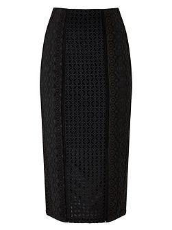 Elora Embroidery Pencil Skirt