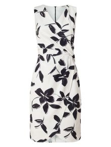 Precis Petite Ria Printed Draped Dress