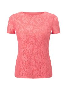 Precis Petite Nell Coral Lace Jersey Top