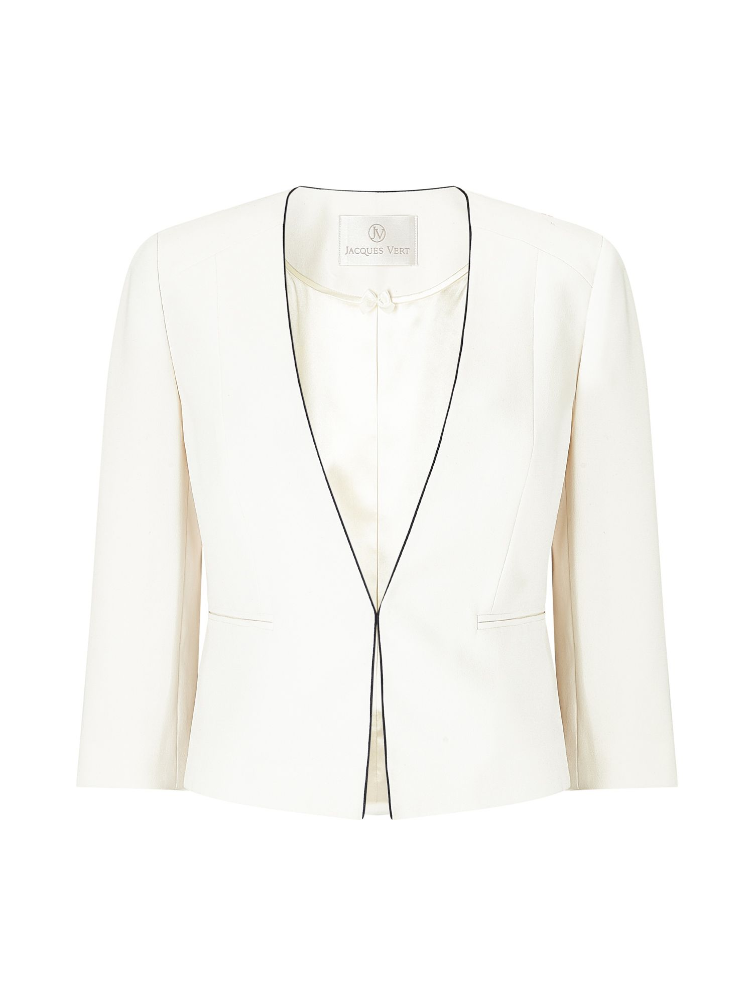 Jacques Vert Crepe Piped Jacket, Neutral