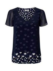 Jacques Vert Three Layer Print Top