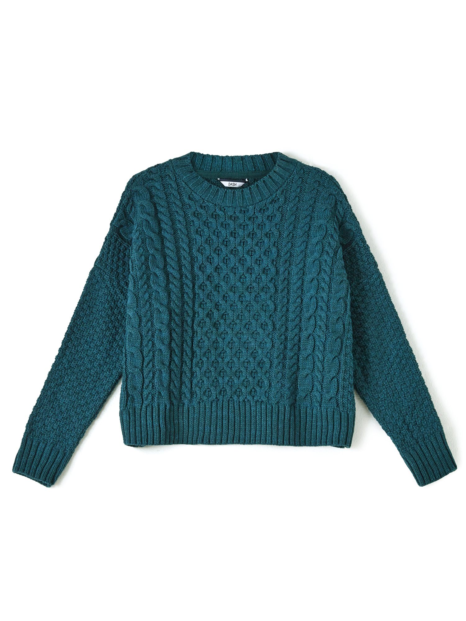 Dash Dash Teal Cable Knit Jumper, Turquoise