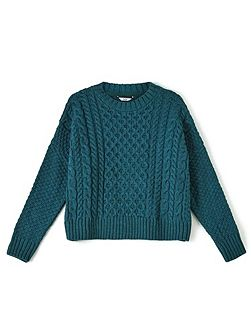 Teal Cable Knit Jumper