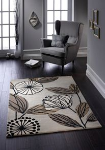 Fifties Floral Wool Rug Natural Range