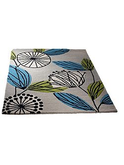 Fifties Floral Wool Rug Teal 80x150