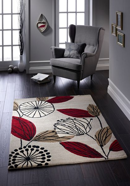 Origin Rugs Fifties Floral Wool Rug Red 160x230