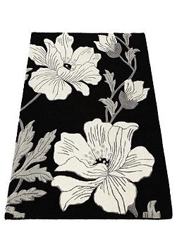 Magnolia Wool Rug Black 120x170
