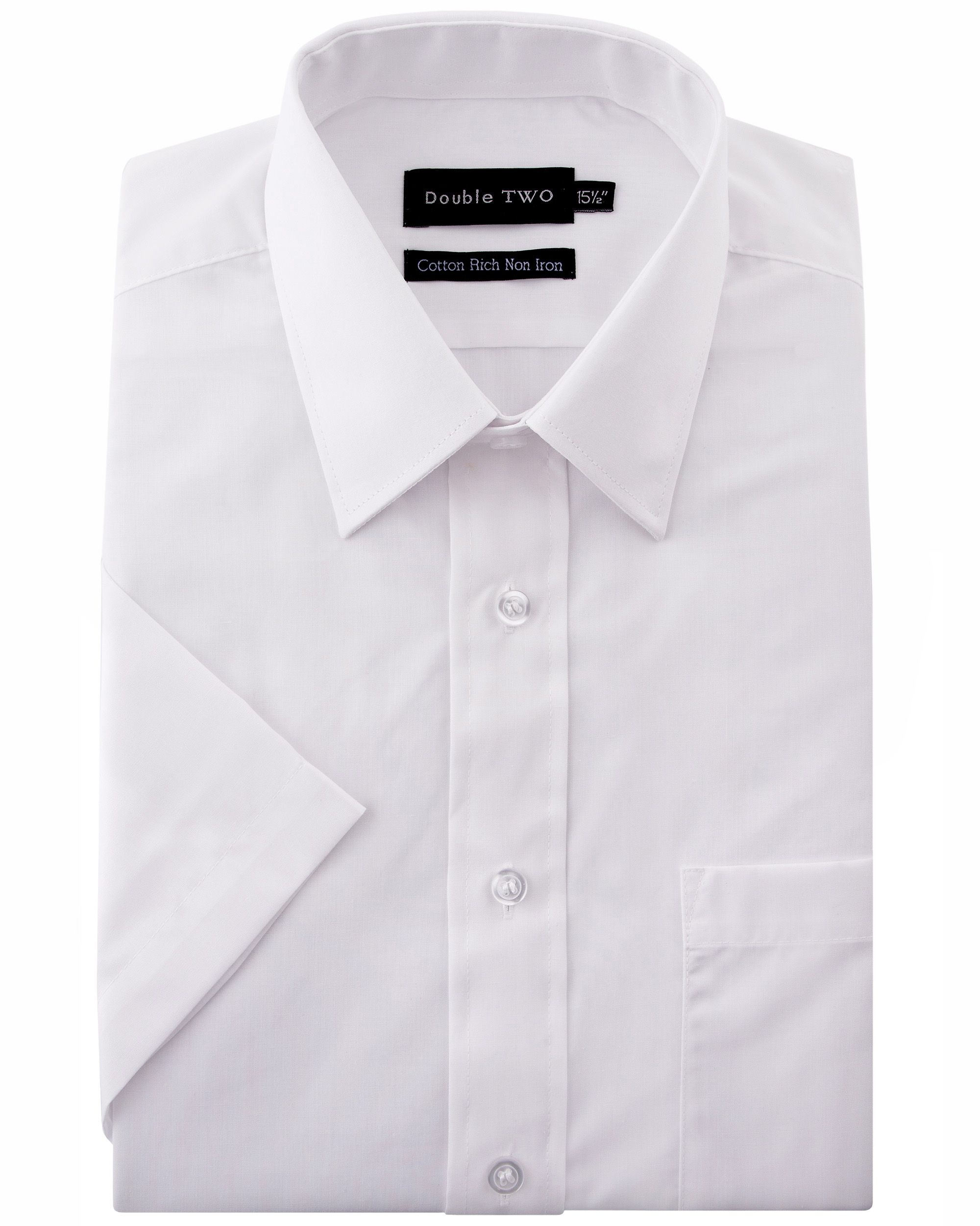 Men 39 s double two plain short sleeved non iron cotton rich for What is a non iron shirt