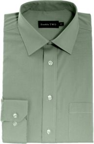 Double TWO King size long-sleeve non iron poplin shirt