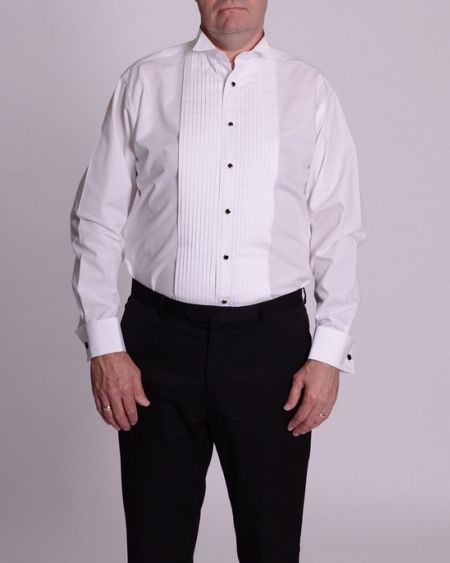 Double TWO Wing collar stitch pleat dress shirt