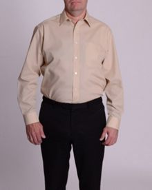 Double TWO King size classic plain long-sleeve shirt