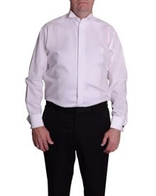 King Size Wing Collar Ribbed Pique Dress Shirt