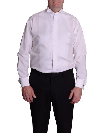 Double TWO King Size Wing Collar Ribbed Pique Dress Shirt