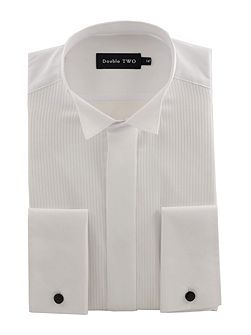 Wing collar ribbed pique dress shirt