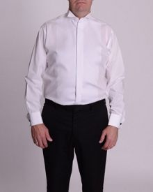 Double TWO Wing collar ribbed pique dress shirt