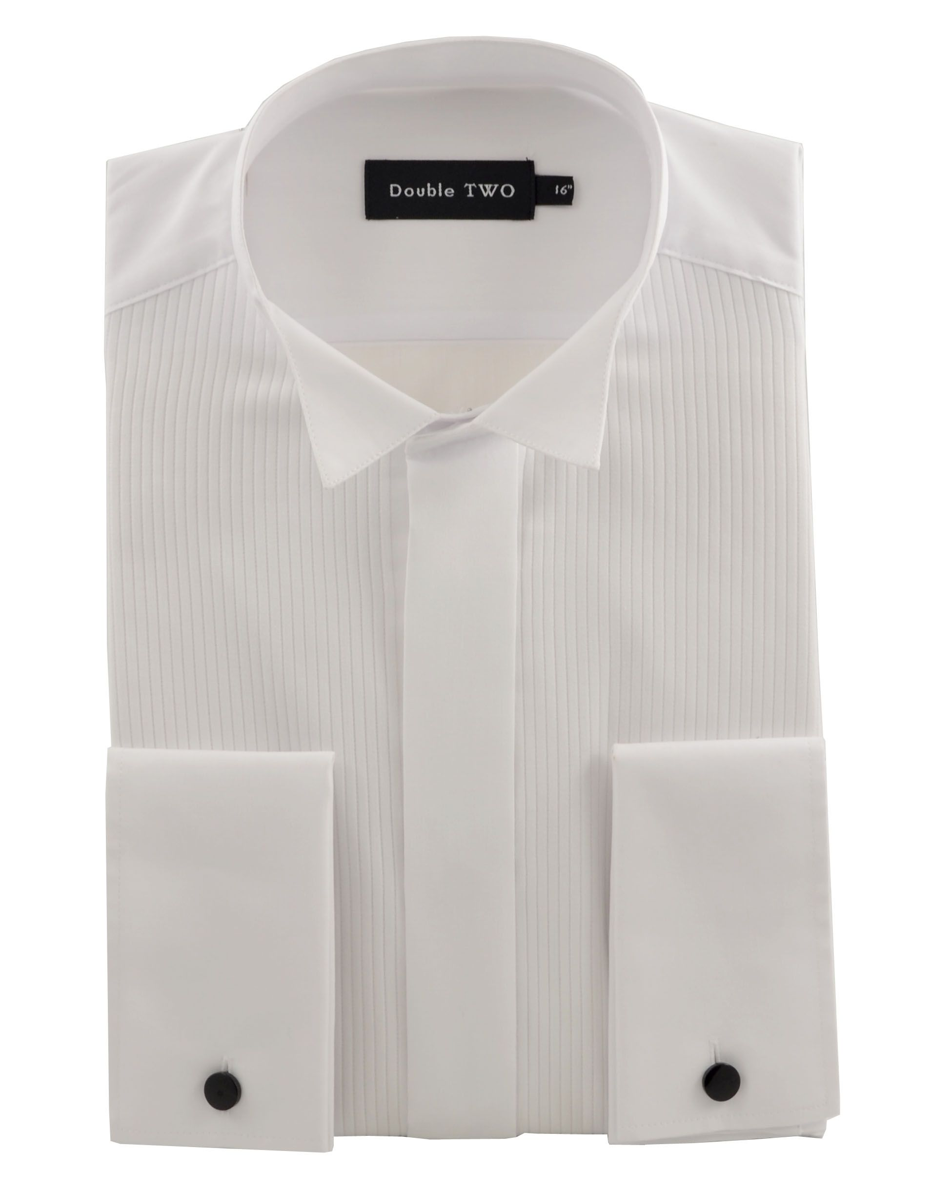 Mens Double TWO Plain Classic Fit Wing Collar Dress Shirt White