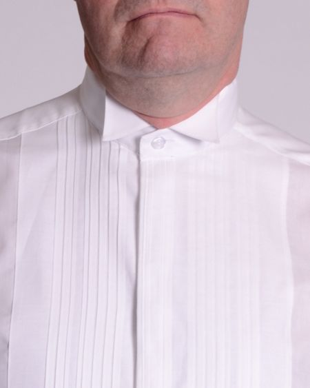 Double TWO Wing collar plisse front dress shirt