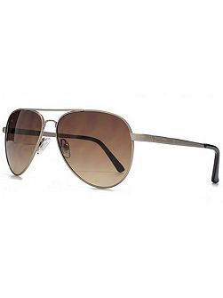 26BEN012 Brushed Gun Aviator Sunglasses