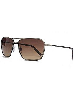26BEN021 Brushed Gun Square Sunglasses