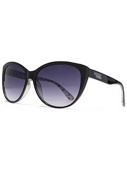 26AFS019 Black Print Cateye Sunglasses