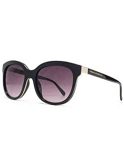 26FCU653 Black Gold Round Sunglasses