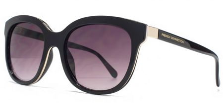 French Connection 26FCU653 Black Gold Round Sunglasses