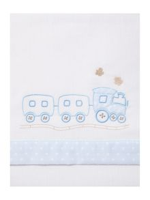 Fabricado En Espana Baby boys train cot sheet set 150 x 100