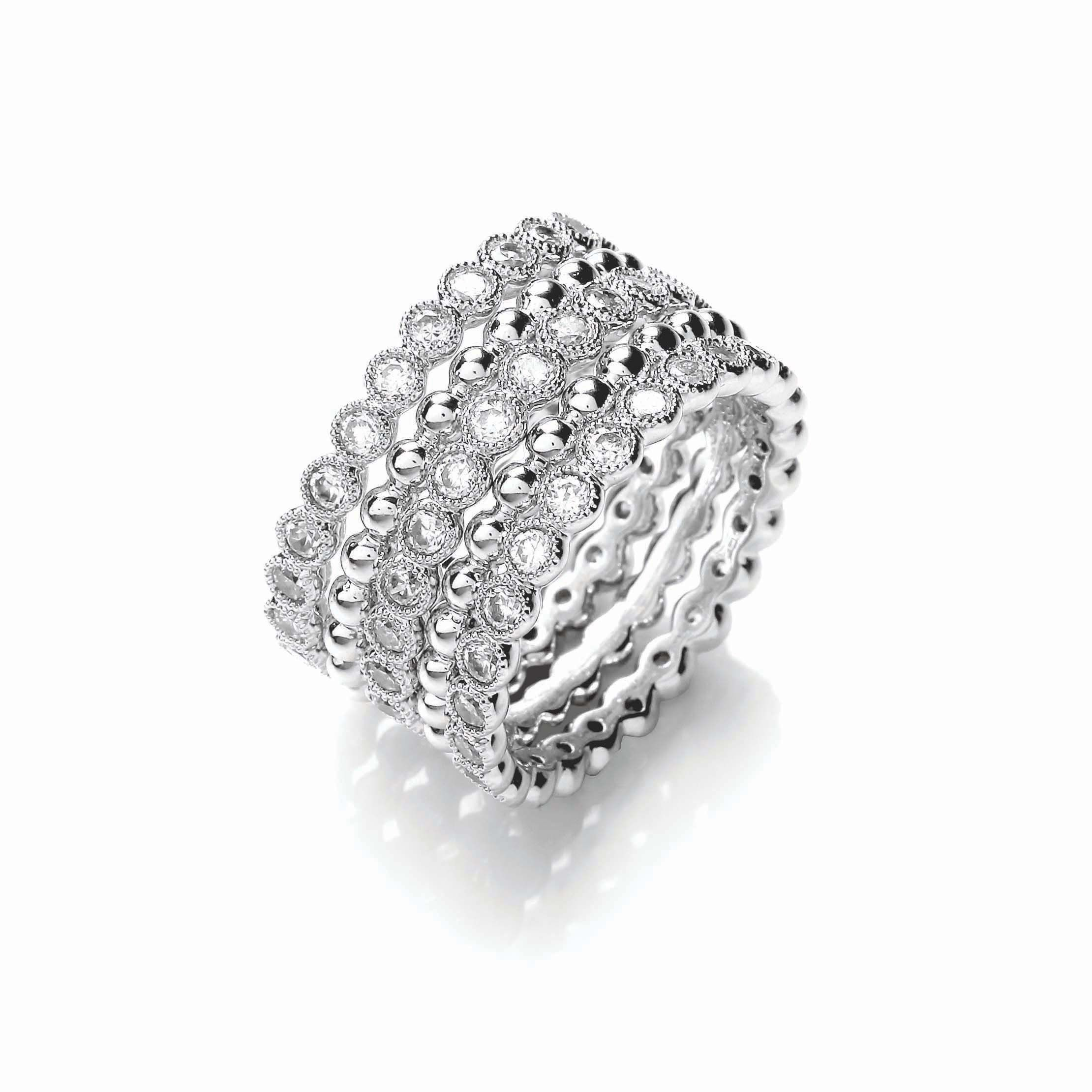Beaded sparkle stacker ring