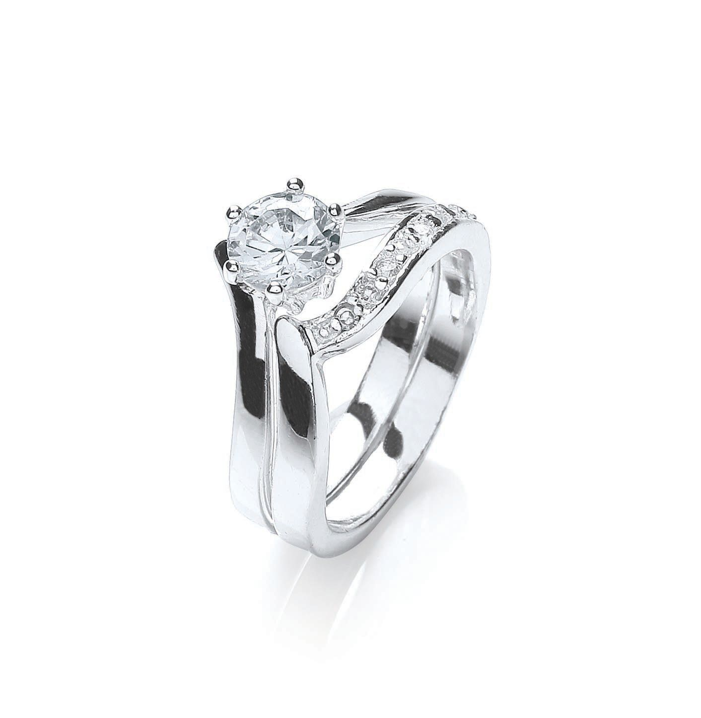 Rhodium plate cz duo ring set