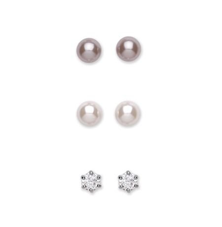 Buckley London Trio Pearl/CZ Pack Earring