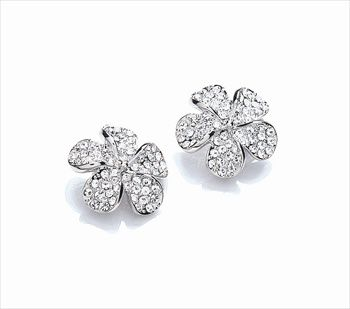 Rhodium plate micro pave flower earrings