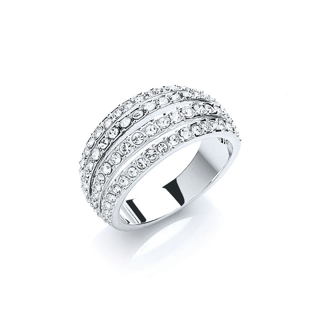 Rhodium plate pave strands ring