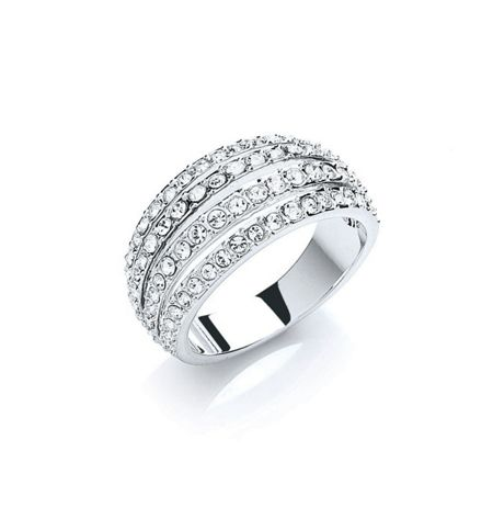 Buckley London Rhodium plate pave strands ring