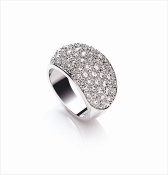 Rhodium plate domed chunky ring