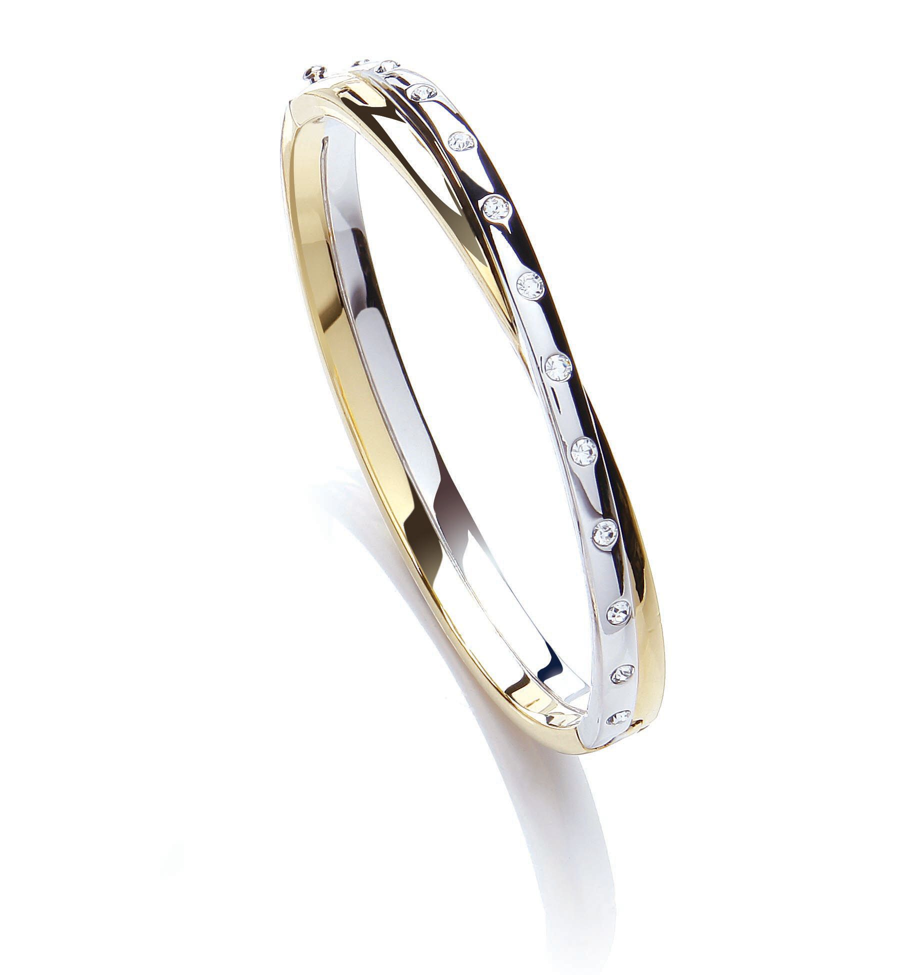 Two tone crystal bangle