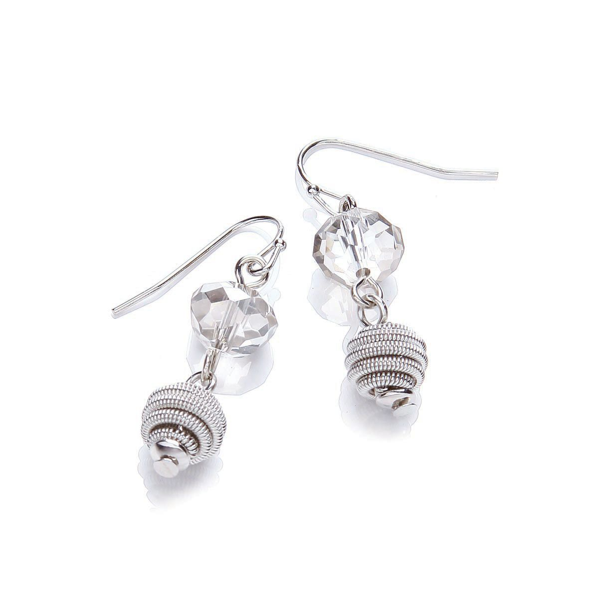 Imi Rhodium glass short drop earrings
