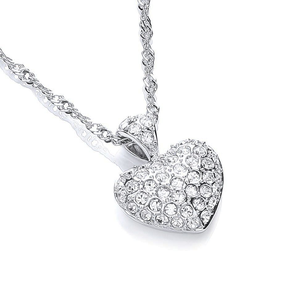 Rhodium plate love heart pendant